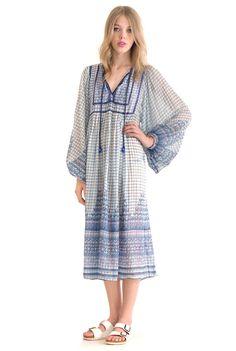 JUDITH ANN Aqua Marine Indian Gauze Dress   Spanish Moss