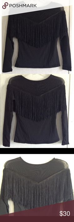 Tassel Fringe Mesh Panel Top Excellent condition. Just a few loose threads near one shoulder. Super cute fringe top. Mesh panel across the top on the front and back. Fringe starts under the mesh in a V shape. Solid stretchy material under the fringe. Solid long sleeves. Both sides are the same. Tag says size medium, may run small but it's super stretchy. All offers welcome Boutique Tops Blouses