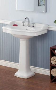 Cheviot Products Vitreous China 28 Pedestal Bathroom Sink with Overflow Cheviot Products Pedistal Sink, Pedestal Sink Bathroom, Wall Mounted Bathroom Sinks, Undermount Bathroom Sink, Bathroom Fixtures, Downstairs Bathroom, Glass Bathroom, Bathroom Storage, Small Bathroom