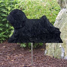 2 Coat Styles-Puli Wood Carved Dog Figure Yard Garden Stake. Home Decor Dog Products & Gifts