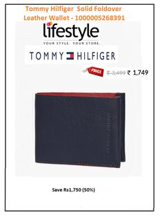 #Tommy #Hilfiger #Solid #Foldover #Leather #Wallet - #1000005268391  #Style : Casual #Price: ₹1,749.00 #Material : Leather #No of Pockets : 2