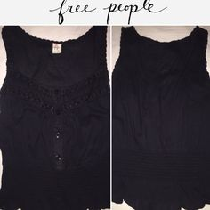 Free People Black Sleeveless Top Like Condition! Free People Black Tank w/elastic waist band that flares out around bottom! Size is labeled 10, actually fits smaller compared to usual FP size/fit. Button detailing on front w/ v-neck. Excellent condition, worn once!  Free People Tops Blouses