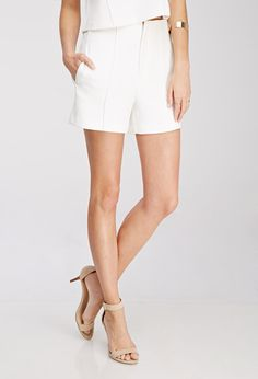 Pintucked High-Waisted Shorts - Shorts - 2000097875 - Forever 21 UK
