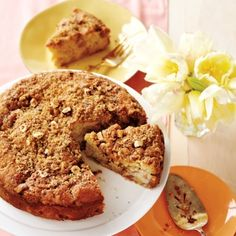 Rhubarb Coffee Cake—Studded with juicy pink rhubarb and topped with a crunchy nut streusel, this cake is perfect for spring brunch, snacktime or dessert. Rhubarb Coffee Cakes, Rhubarb Desserts, Rhubarb Recipes, No Bake Desserts, Delicious Desserts, Rhubarb Cake, Freeze Rhubarb, Rhubarb Crumble, Fancy Desserts