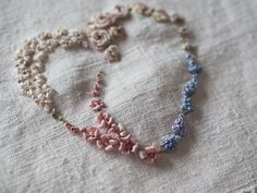 beautiful ribbon embroidery by The Common Thread, designed by Nicki Franklin of the Stitchery Ribbon Embroidery Tutorial, Silk Ribbon Embroidery, Embroidery Thread, Cross Stitch Embroidery, Embroidery Designs, Embroidery Supplies, Violet Gin, Beaded Necklace, Punch Needle