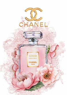 Coco Chanel Perfume Wall Art Plaque Shabby Chic Roses Chanel Logo 28 x 40cm A3