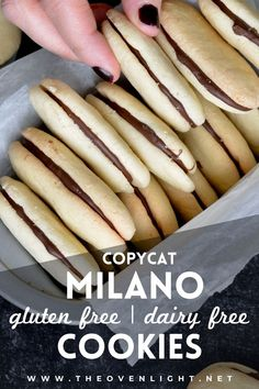 Copycat Milano Cookies   Gluten free and Dairy free. Perfectly crispy cookie with dark chocolate filling. Very simple recipe. #glutenfree #dairyfree #cookies Milano Cookies, Milano Cookie Recipe, Donut Recipes, Cooking Recipes, Free Recipes, Healthy Recipes, Dairy Free Chocolate, Chocolate Filling, Dark Chocolate Chips