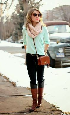 Mint Sweater, Pink Scarf, Black Leather Pent,Brown Boots