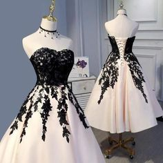 Tea Length Champagne and Black Lace Wedding Party Gown Formal Prom Dress ., Tea Length Champagne and Black Lace Wedding Party Gown Formal Prom Dress Short 2018 Cute Prom Dresses, Day Dresses, Pretty Dresses, Beautiful Dresses, Dress Outfits, Short Dresses, Fashion Dresses, Reception Dresses, Bride Dresses