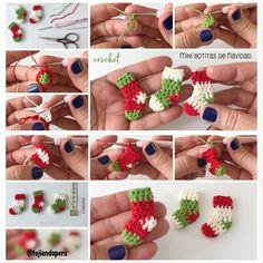 Mini botitas de #Navidad tejidas a #crochet paso a paso  Para tejer en 5 minutos  Video tutorial