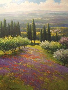 Tuscan Field Lavender by Gerhard Nesvadba - 40x30 inches - Retail $5,500 Sale Price $2,750