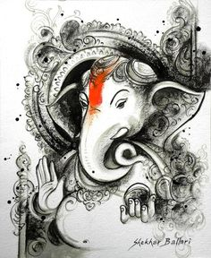 ganesha in charcoal painting Lord Ganesha Paintings, Ganesha Art, Shri Ganesh, Krishna, Indian Gods, Indian Art, Deer Wallpaper, Ganesh Tattoo, Ganesha Pictures