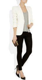white cardigan, grey tshirt, black leggings