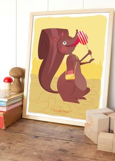 Candy squirrel by krollillustration on Etsy Scooby Doo, Candy, Squirrels, Unique Jewelry, Handmade Gifts, Illustration, Artist, Fictional Characters, Etsy
