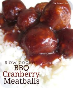 Slow Cooker BBQ Cranberry Meatballs Recipe:    Ingredients:  1 (24 oz) pkg. frozen meatballs (I used turkey meatballs)  2 (14 oz) cans jellied cranberry sauce  2 (20 oz) bottles of BBQ sauce    Directions:  Combine jellied cranberry sauce and BBQ sauce in a crock pot and stir until smooth. Add meatballs and stir until well coated. Cook for 2-5 hours on low. Serve over rice or with toothpicks.