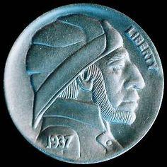 DAVE BOULAY HOBO NICKEL - 1937 BUFFALO PROFILE Hobo Nickel, Buffalo, Classic Style, Cactus, Coins, Auction, Carving, Profile, Artist