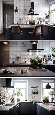 Beautiful black kitchen, dark cabinet, black cabinet, scandinavian kitchen, white subway tiles