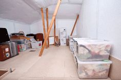 Attic Conversion for roof storage or play room/hangout or sewing room etc. Roof Storage, Attic Storage, Attic Conversion, Attic Remodel, Attic Rooms, Playroom, Basement, Roof Ideas, Attic Ideas