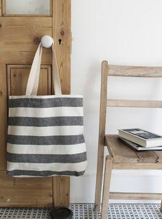 Black and white stripe shopper bag.  Vintage style....