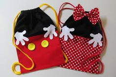 Minnie oder Mickey Rucksack - 20 x 30 cm, Fiesta Mickey Mouse, Mickey Party, Mickey Mouse Birthday, Mickey Minnie Mouse, Disney Diy, Disney Crafts, Sewing For Kids, Baby Sewing, Sewing Crafts