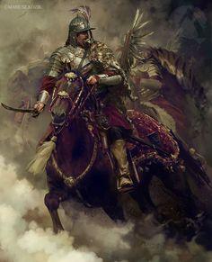 the winged hussar equestrian portrait 1 by mariusz kozik Expose 1 Medieval Armor, Medieval Fantasy, Military Art, Military History, High Fantasy, Fantasy Art, Templer, Knight Art, Fantasy Warrior