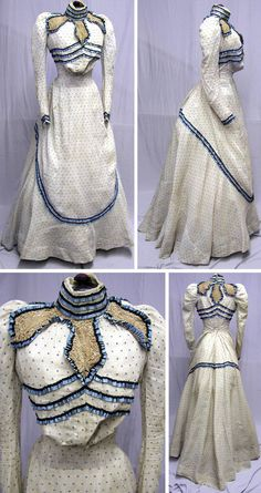Dotted cotton day dress with lace and silk ribbon trim, ca. 1890s.