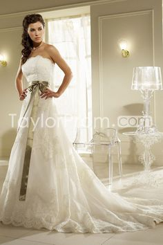 Awesome A Line Strapless Floor Length Chapel Appliques Wedding Dresses Dress Online ShopCheap