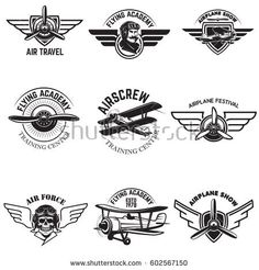 Vintage Planes Set of air force, airplane show, flying academy emblems. Design elements for logo, badge, label. Aviation Logo, Aviation Theme, Aviation Tattoo, Badge Design, Logo Design, Design Set, Branding Design, Flying Academy, Air Force Tattoo