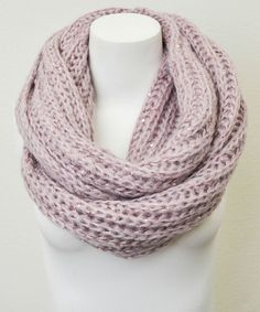 Mauve Chunky Knit Sequin Infinity Scarf