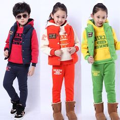 34.90$  Buy now - http://alioyi.worldwells.pw/go.php?t=32256590759 - V-TREE winter 3pcs/set girls boys clothing set thicken kids clothes sets conjunto de roupa baby clothes children sports suit