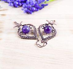 Amethyst Earrings, Copper Earrings, Amethyst Gemstone, Unique Earrings, Vintage Earrings, Statement Earrings, Wire Jewelry, Gemstone Jewelry, Wire Wrapped Earrings