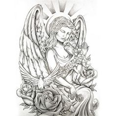 tatouage ange et croix