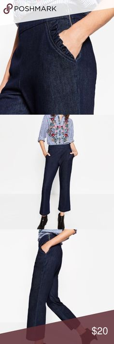 Zara woman high waist Jean trousers 100% cotton faux denim high waist trouser  pants laying flat  waist-13 inches  inseam-24 inches  pant length top hem to bottom hem-35 inches  Cropped leg Ruffle detail on pockets Silver zipper on side Zara Pants Trousers