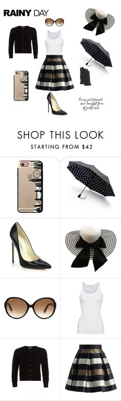"""""""Classy Rainy Day Outfit"""" by gguarracino ❤ liked on Polyvore featuring Casetify, Saks Fifth Avenue Collection, Brian Atwood, Tod's, American Vintage, Cocoa Cashmere, Chicwish and FRR"""