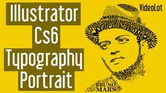images created in illustrator Typography Portrait, Adobe Illustrator Tutorials, Good Tutorials, Photoshop Tutorial, Art Lessons, Layout Design, Illustration, Bruno Mars, Digital Art