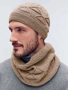 60 مدل جدید و شیک شال و کلاه ست مردانه و پسرانه • مجله تصویر زندگی Mens Scarf Knitting Pattern, Snood Pattern, Knitting Paterns, Loom Knitting, Free Pattern, Knit Hat For Men, Hat For Man, Knitted Hats, Crochet Hats
