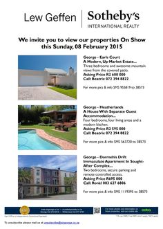 #ShowHouses - 8 February 2015, between 2pm and 5pm -  #GardenRoute #RealEstate #properties