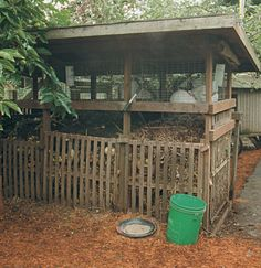 Rabbits are housed right over the compost piles, for automatic blending of manure with kitchen and garden refuse.