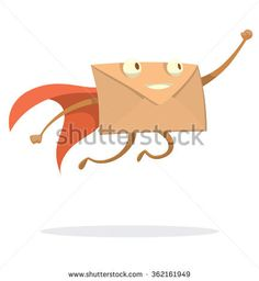 Vector cartoon image of a beige envelope with eyes, arms and legs in a red cape flying swiftly to the destination on a white background. Express letter. Icon e-mail. Vector illustration.