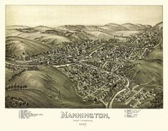 Historic Map of Mannington West Virginia 1897 Marion County Poster