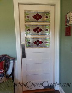 how to install stained glass windows, doors, This is the old door that started with no hardware a mouse hole and a little water damage along the bottom edge She s a beauty now huh And she swings and remains open at either side We enjoy this door so much Stained Glass Door, Stained Glass Christmas, Stained Glass Designs, Stained Glass Panels, Stained Glass Projects, Stained Glass Patterns, Leaded Glass, Mosaic Glass, Swinging Doors