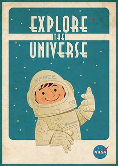 Espace Vintage Poster astronaute par artsyGalleree sur Etsy