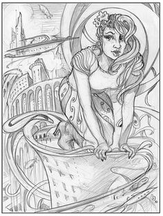 """""""Airships, Swirls and a Woman"""" - Pencil, in Drawings, pinup drawing, art nouveau, airships, surreal"""