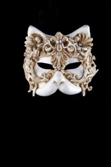 UK. Bauta cast mask.Unisex..Masquerade //Ball //Prom.Black silk ties Casanova