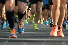 Marathon Running Race, Runners Feet On Road Stock Photo, Picture And Royalty Free Image. Image 49137378.