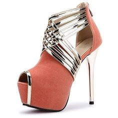 Stripe Sandals Super High Heels Fereshte Women's Sexy Fashion Peep-toe synthetic-and-leather Imported Heel Height: Platform Height: Warm No Gold Strappy High Heels, Sexy High Heels, High Heels Stilettos, High Heel Boots, Stiletto Heels, Classy Heels, Pumps, Fab Shoes, Peep Toe Shoes