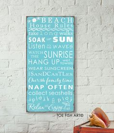 SALE Beach Rules with Seashore Bunting Vintage by ToeFishArt