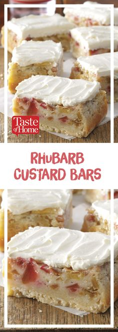 Rhubarb Custard Bars * Use lactose-free and gluten-free products to keep this recipe low FODMAP! Köstliche Desserts, Delicious Desserts, Rhubarb Desserts Easy, Rhubarb Cookies, Rhubarb Cake, Recipes For Rhubarb, Gluten Free Rhubarb Recipes, Rhubarb Loaf, Rhubarb Dishes