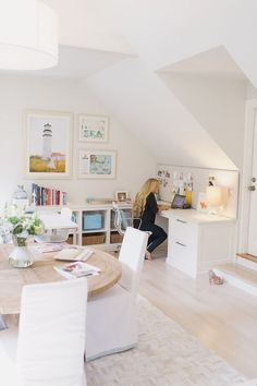 Lovely use of space for an attic or other room with sloped ceilings.