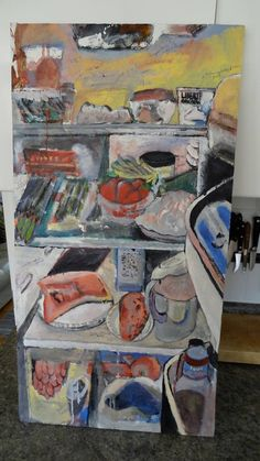 What's In Her Fridge? | David Charles Fox | Acrylic On Wood davidcharlesfoxexpressionism.com #foodpainting #art #paintings #acrylicpainting #abstract #impressionism